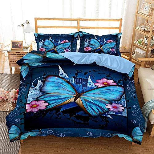 ZSDFAEG Juego de Funda nórdica Juego de Cama 3 Piezas Mariposa Azul Impresión Multicolor Juego de edredón y 2 Fundas de Almohada, Fácil de cuidar (240x260 cm)