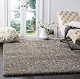 SAFAVIEH Milan Shag Collection SG180 Solid Non-Shedding Living Room Bedroom Dining Room Entryway Plush 2-inch Thick Area Rug, 5'1' x 8', Grey