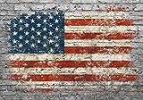 wandmotiv24 Fototapete Flagge Ziegelwand USA L 300 x 210 cm - 6 Teile Fototapeten, Wandbild,...