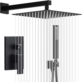 IRIBER Matte Black Shower Set with 10 Inch High Pressure Rain Shower Head and Handheld and Shower Faucet Mixer Valve Modern Shower System Including Pressure Balance Valve Shower Trim Kit for Bathroom