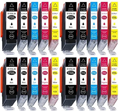 20 cartuchos de impresora XL CC de la serie Canon PGI570XL CLI571XL con chip e indicador de nivel de llenado para Canon Pixma MG 5750, MG 5751, 5752, MG 5753, MG 6850, MG 6851, MG 6852, MG 6853, MG 7750, MG 7751, MG 77777751, MG 77777751, MG 2, MG 77. 53 compatible con PGI570BK, CLI571BK, CLI571C, CLI571M, CLI571Y.