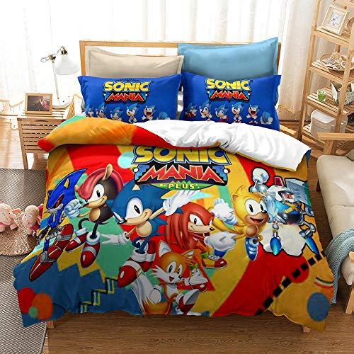 NiQiShangMao Juego de Funda nórdica Sonic - Funda nórdica y Funda de Almohada Sonic The Hedgehog, Juego de sábanas de 3 Piezas con Estampado de Anime 3D