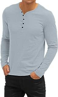 Aiyino Men's Casual V-Neck Button Cuffs Cardigan Long Sleeve T-Shirts