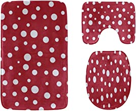 Girlish Red and White Polka Dots Bathroom Rug Mats Set 3-Piece,Soft Shower Bath Rugs,Contour Mat and Toilet Seat Lid Cover...