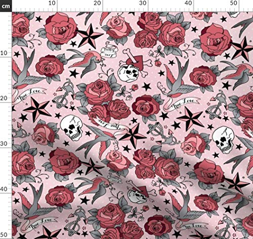 Tätowierung, Retro, Rockabilly, Rosen, Totenkopf, Sterne Stoffe - Individuell Bedruckt von Spoonflower - Design von Cynthiafrenette Gedruckt auf Baumwollstoff Klassik