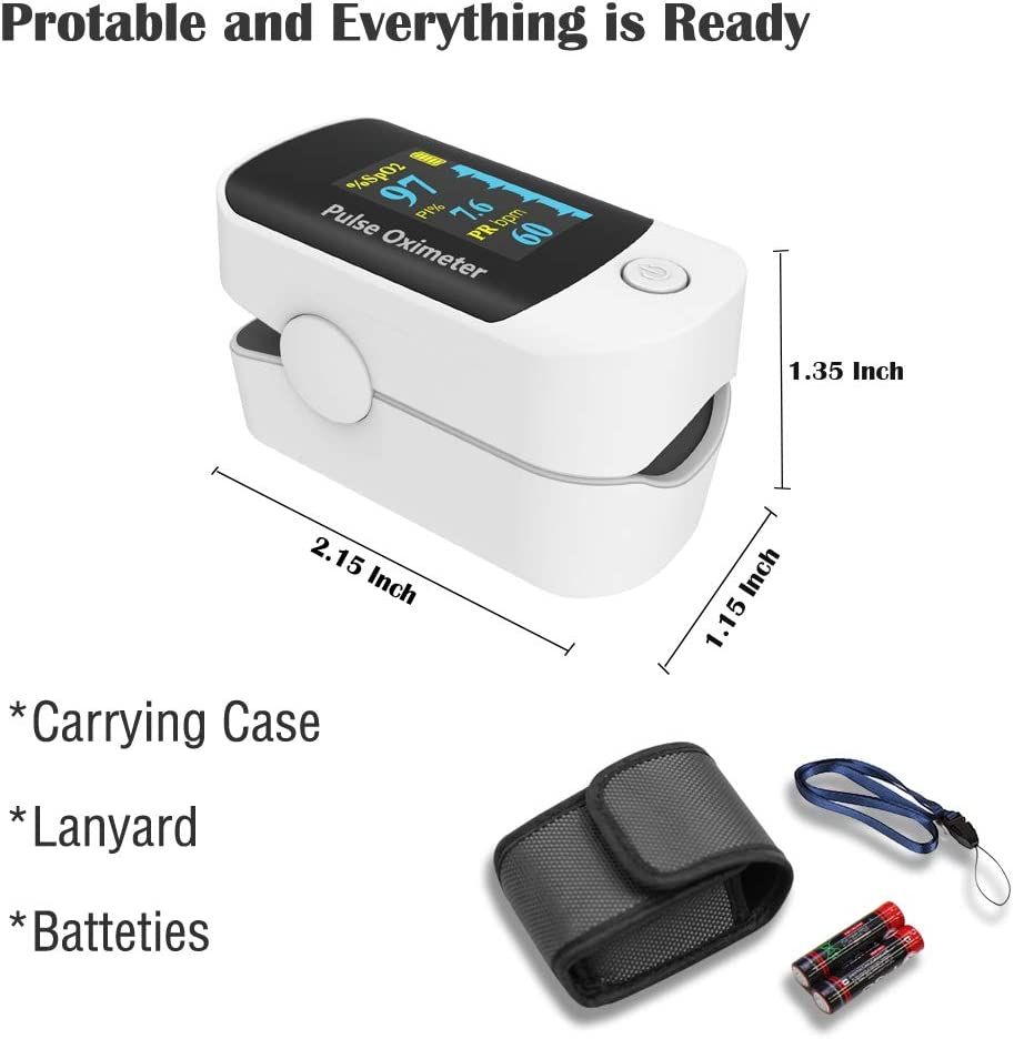 Pulse oximeter fingertip, Portable Blood Oxygen Saturation Monitor for Heart Rate and SpO2 Level, O2 Monitor Finger for Oxygen,Pulse Ox,Oxi Include Carrying case,Lanyard and Batteries, Grey-White