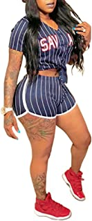 Women Sexy V Neck Stripe Button Down Crop Top Shorts Set 2 Piece Outfits Rompers Jumpsuits