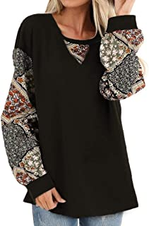Winwinus Womens Puff Casual Printed Long Sleeve Pullover Blouse Shirts