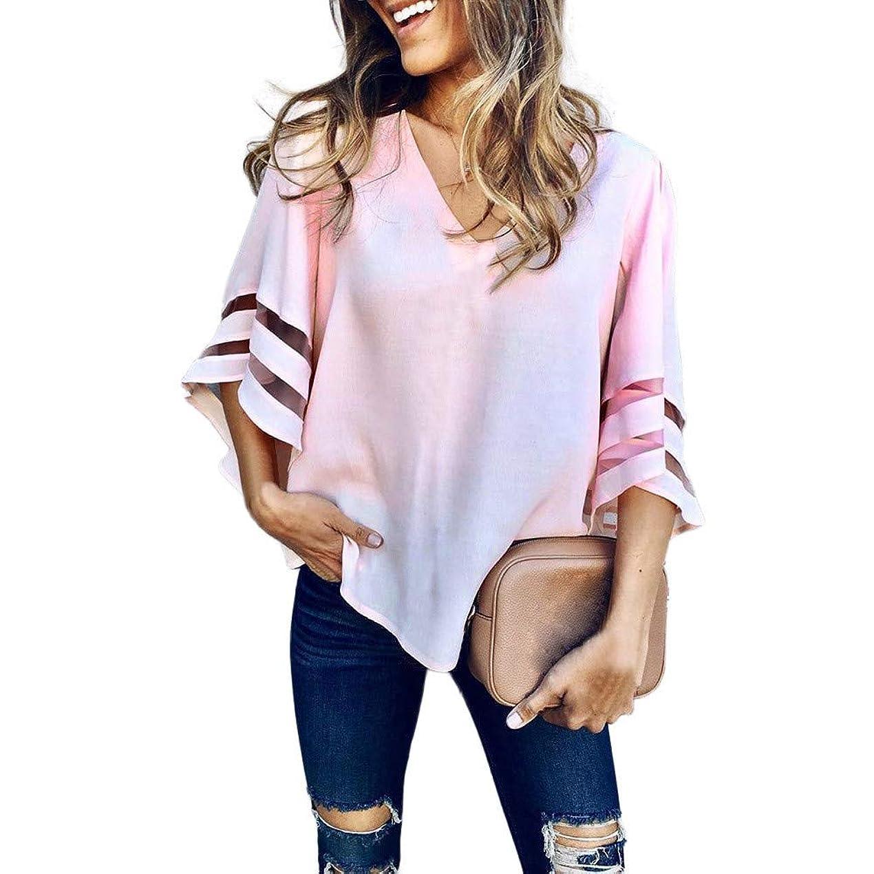 包括的耐えるおいしいレディース Tシャツ ゆったりトップス メッシュ パネル ベルスリーブ Vネック シャツ 体型カバー 大きいサイズ カットソー カジュアル ブラウス 夏服 通勤 チュニック シャツワンピース 着痩せ 日常 上着 女性 無地 チュニック