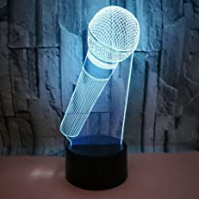 3D LED Illusion Light Acrylic Microphone Mockup Night Light, 7 Color Night Lights for Cafe Bar Decoration, Holiday Christmas Gifts