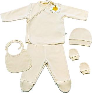 GOTS Certified 100% Organic 5 Piece Basic Essentials Layette Set for Newborn Baby Boys and Girls