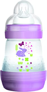 MAM Easy Start Anti-Colic Bottle 5 oz (1-Count), Baby Essentials, Slow Flow Bottles with Silicone Nipple, Baby Bottles for Baby Girl, Purple