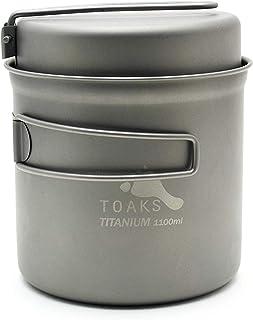 TOAKS Cookware Set Ultralight Titanium Pot Frying Pan Outdoor Camping Titanium Bowl Titanium Cup Picnic 1100ml, 1300ml, 1350ml, 1600ml