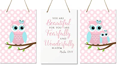"""LifeSong Milestones You are Fearfully and Wonderfully Made Psalm 139:14 3pc Owl Wall Decor Decorations Signs for Kids, Bedroom, Nursery, Baby Boys and Girls Room Size 8"""" x 12"""" (Pink & Blue)"""