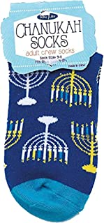 Hanukkah Socks - Hanukkah Menorah Crew Socks - Adult Sock Size 9-11. Fits Shoe Size 4-10 1/2