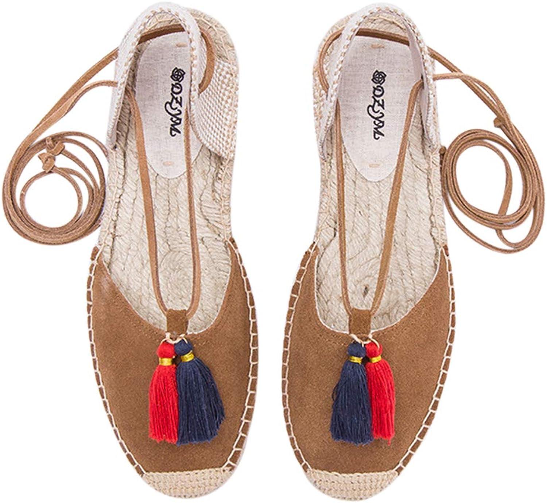 MINI Boutique Flat shoes for Women Sandals Straw Linen Lace Up Sandals Ankle Strap Platform Straw Woven Fisherman's shoes