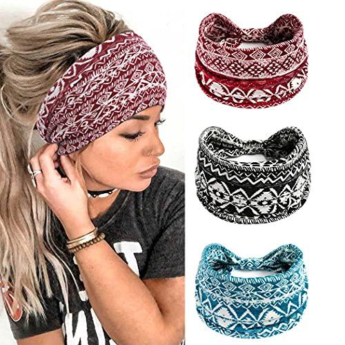 Yean Diadema ancha para yoga con flores rojas, cinta elástica para el pelo, bufandas de tela con turbante para mujeres y niñas (paquete de 3)