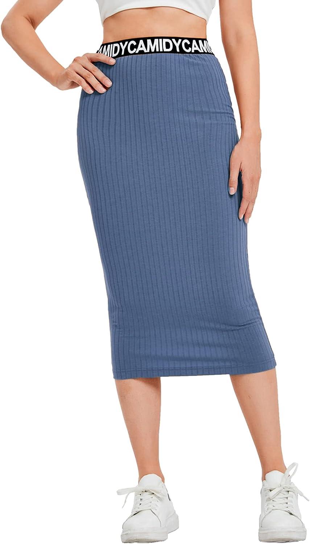 SheIn Women's Casual Waist Letter Elastic Waist Ribbed Knit Bodycon Pencil Midi Skirt
