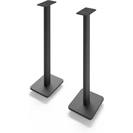 "Kanto SP32PL 32"" Speaker Floor Stands   Designed for Medium to Large Bookshelf Speakers   Heavy Steel & Foam Padding   30° Rotating Top Plate   Hidden Cable Design   Black   Pair"