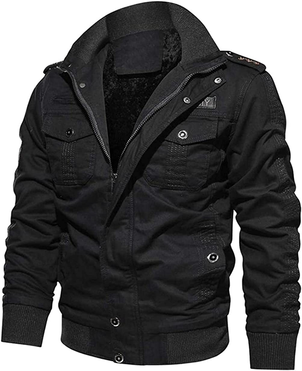 Men's Gifts Winter Military Jacket Casual Coat Stand Max 45% OFF Fleece Collar Cot