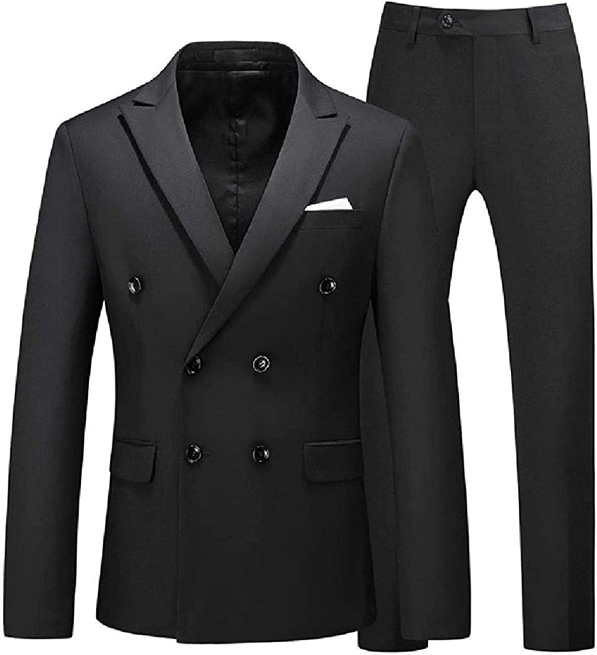 CHENYINJJ Men Long Sleeve Lapel Double Breasted Jacket & Pants 2-Piece Suit
