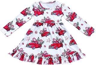 Girls Long Sleeve Ruffle Dress Christmas Red Truck Kids Fall Winter Dress Milk Silk Party Clothing