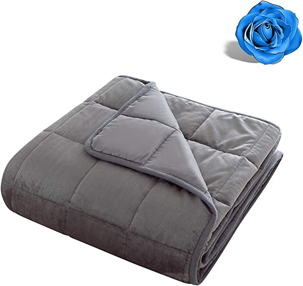 Grey Weighted Blanket Calm Sleeping 4 0 Heavy Blanket 100 Cotton Material With Glass Beads 100 Cotton Weighted Blanket Reversible Gray Weighted Blanket Super Soft 5 Lbs 36 X48
