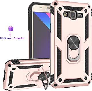 ZingCon Compatible for Galaxy J7 Neo Phone Case,J7 Nxt,J7 Core,J7 2015 Case with HD Screen Protector,Heavy Duty Shockproof Protective with 360 Rotating Ring Kickstand fit Magnetic Car Mount-Rose Gold