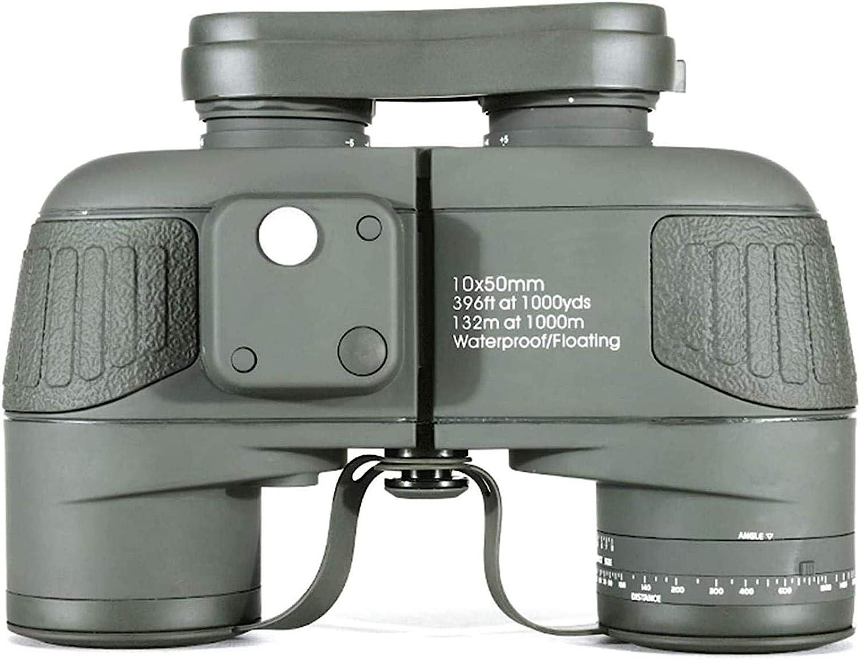 J-Love Binoculares 10X50 con telémetro brújula Prisma Lente BAK4 a Prueba Niebla Binocular Adecuado para navegación/navegación/observación Aves