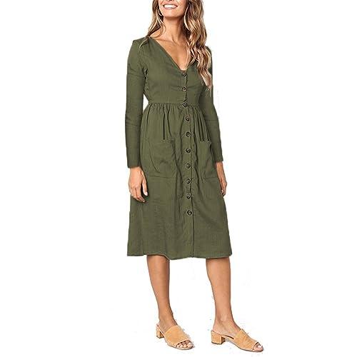 be234ef4a0 MIDOSOO Womens Summer Casual V Neck Short Sleeve Skater Midi Dress with  Pockets