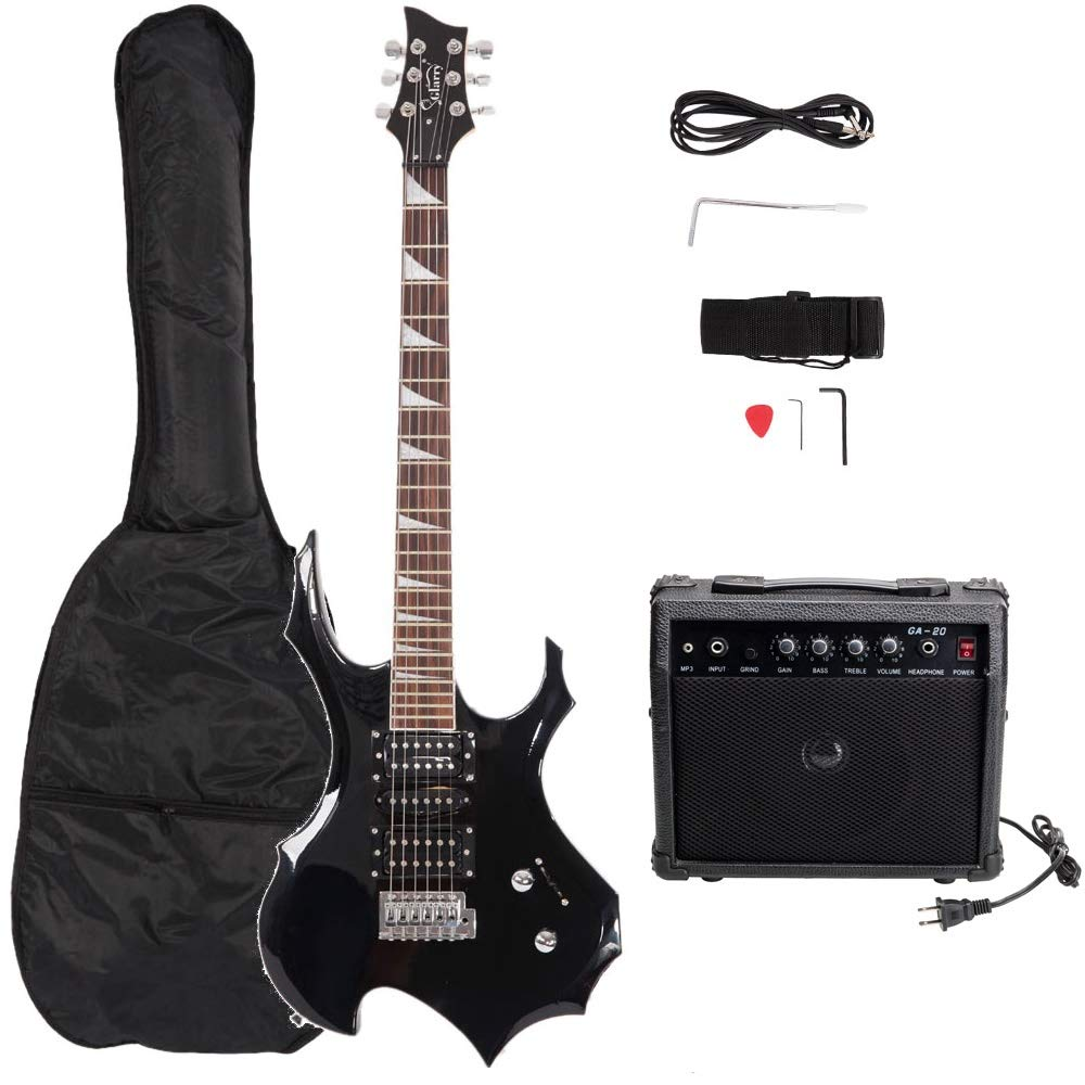 Cheap Shuixiang 38in Electric Guitar Professional Flame Type Electronic Guitar Beginner Starter Kit with Pick Cable Cord Lead Strap Tremolo Arm & Carrying Bag Black Black Friday & Cyber Monday 2019
