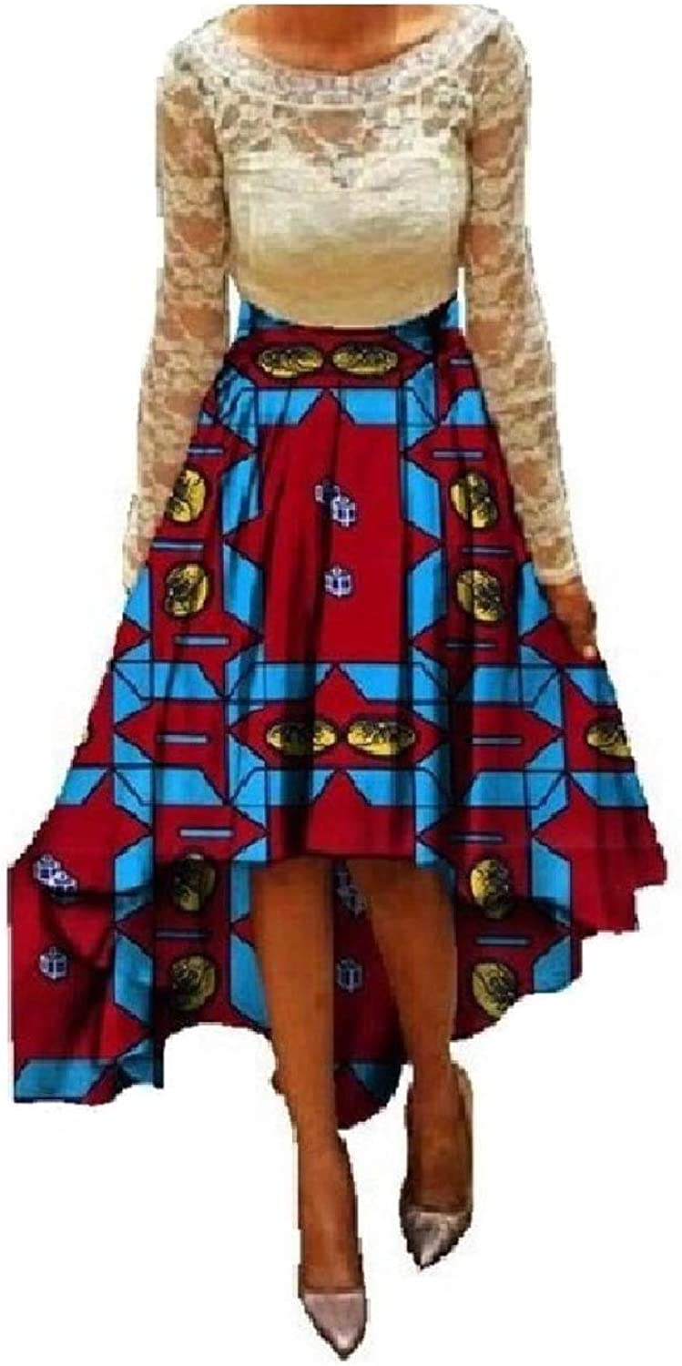 Winme Womens Dashiki Bow African Wax Print Irregular Flare A Line Skirt