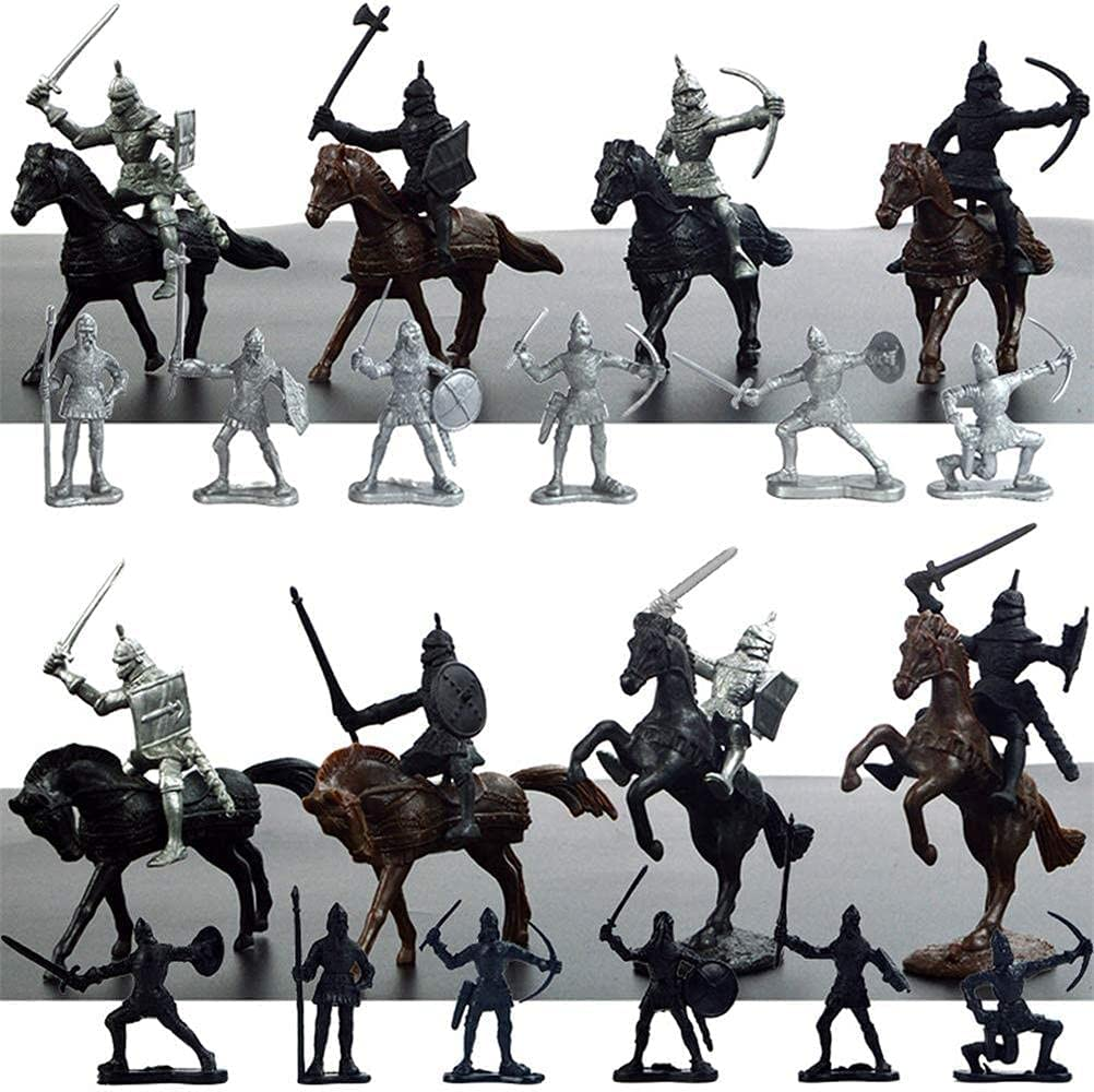 BTOSEP Modelo de Juguetes, muñecas de Figura, Soldado estático Caballero Caballos Juguetes Modelo de Juguete para niños Robusto Medieval Antiguo Soldado Modelo de Juguete, PVC