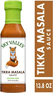 Sky Valley Tikka Masala Sauce; 13.8-oz. Bottle; Tomatoes, Coconut Milk, Fresh Ginger, Cilantro and a Warm Blend of Indian Curry Spices; Deliciously Mild and Creamy; Gluten Free, Vegan, Non-GMO