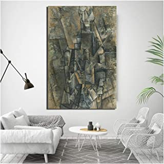 dubdubd Pablo Picasso Hombre con un Clarinete Pared Arte Lienzo Cartel Pintura Moderna Pared Imagen para Sala de Estar decoración del hogar -60x90 cm sin Marco