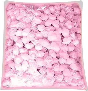 lightclub 500Pcs PE Foam Rose Head Artificial Flower for DIY Bear Doll Wedding House Decor - Light Pink for Living Room