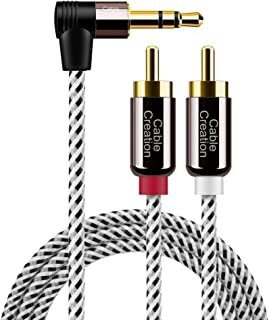 3.5mm to RCA Cable,CableCreation Angle 3.5mm Male to 2RCA Male Auxiliary Stereo Audio Y Splitter Gold-Plated for Smartphones, MP3, Tablets, Speakers,Home Theater,HDTV,1.6ft/0.5m