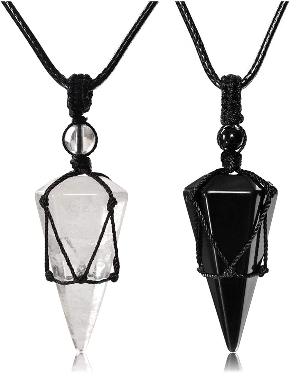 Couple Pendant Necklaces Black Obsidian Clear Quartz Crystal Dowsing Pendulums Divination Healing Necklaces Cord Adjustable Natural Gemstone Hexagonal Pointed Cone Reiki Chakra Pendant Gift