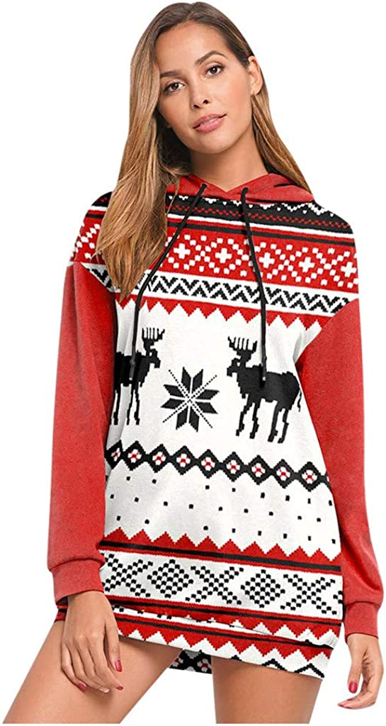 FORUU Women Christmas Pullover Hoodie Sweater Fashion Print Sweatshirt Long Loose Sleeve Tops Creative Soft Blouses for Lady Casual Workout Gifts Favor,Autumn and Winter Outdoor Activities