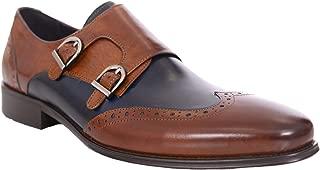 Mens Brown & Blue Contrast Double Monk Strap Leather Dress Shoes