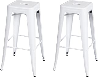 Adeco 30-inch Metal Bar Stools Barstool Tolix Style Industrial Chic Chair, Glossy White, Set Of 2