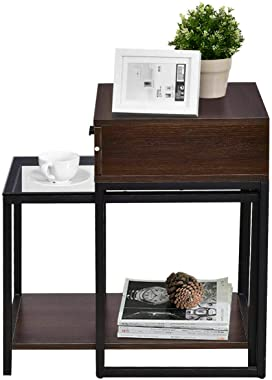 Lovelabel 2 Pieces Nesting Table Coffee Table Side Table End Table Metal Frame Wood Glass