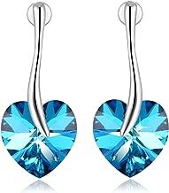 Heart Shape Crystal Earrings PLATO H Love Heart Drop Dangle Earrings, Color Changing Heart Earrings With Crystal from Swarovski, Women Fashion Heart Earrings