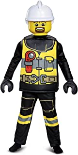 Disguise Lego Firefighter Deluxe Costume, Black/Yellow, Small (4-6)