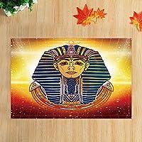 Assanu ヴィンテージエジプトファラオバスラグ古代美術エジプトエジプトファラオキング滑り止め玄関マットフロア玄関屋内フロントドアマットキッズバスマット15.7x23.6inバスルームアクセサリー