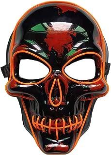 Halloween LED Mask Horror Skeleton Mask Illuminating Face Shield Holiday Decoration for Halloween Party Light Up Masks Orange