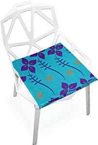 "PLAO Soft Seat Cushion Blue Flowers Printed Cushions Chair Pad Nonslip Chair Mats Home Decor for Patio Furniture Dining Room Bedroom 16"" X 16"""