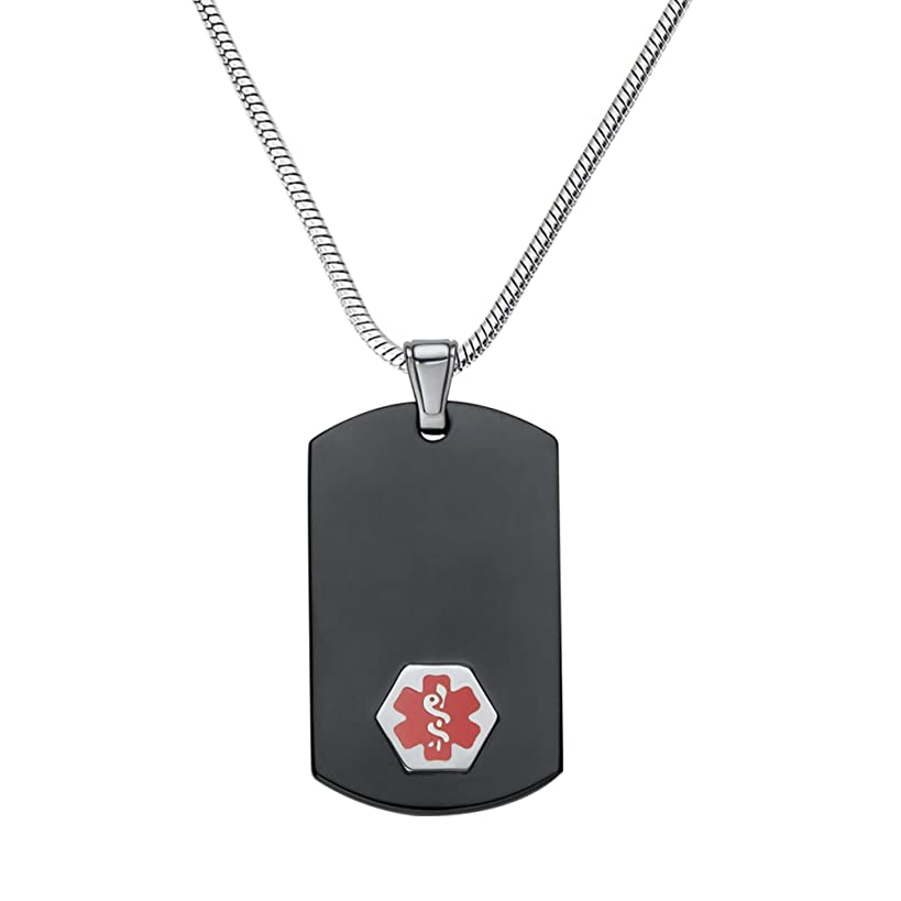 Divoti Custom Engraved Chic Black & Silver 316L Medical Alert Necklace-Dog Tag-24 Stainless Snake Chain