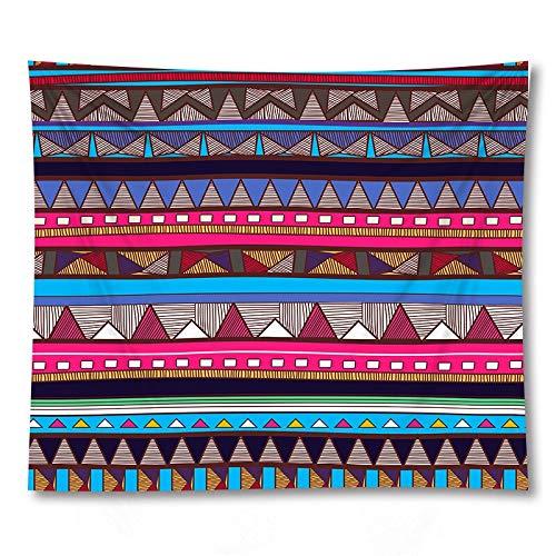 PPOU Tapiz de Alfombra para el hogar con Estampado Bohemio geométrico Multicolor 3D, paño de Pared, Tapiz de Tela de Fondo Decorativo, A3 73x95cm