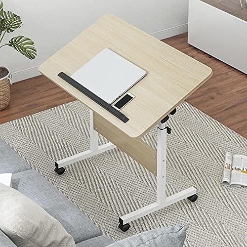 NICEME Escritorio Ajustable para computadora portátil, Escritorio para computadora móvil con Ruedas, Mesa para computadora portátil Ajustable en ángulo y Altura (Color : White Oak)